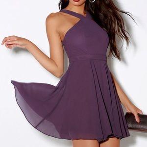 Lulu's Forevermore Dusty Purple Skater Dress XL